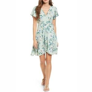 NWT ASTR the Label Mint Floral Wrap Dress Med B3